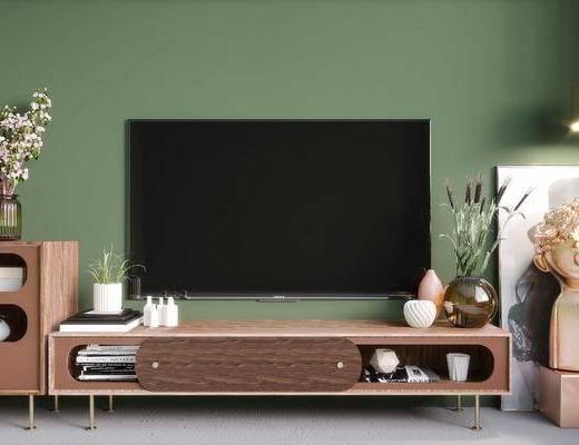 电视柜, 柜架组合, 装饰品, 摆件