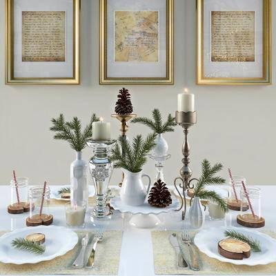现代餐具挂画食物组合, 现代, 餐具, 烛台, 花瓶, 装饰画