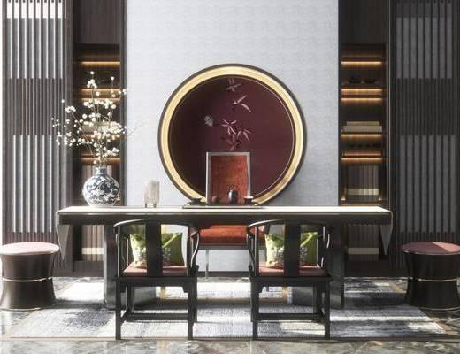 新中式, 茶桌, 椅子