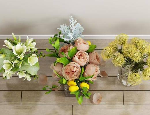 玻璃花卉, 白玫瑰, 现代