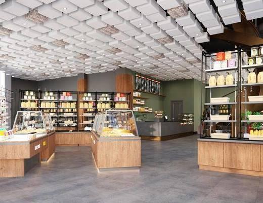 现代, 蛋糕店, 甜品店, 货架