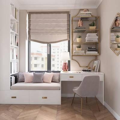 单椅, 镜子, 抱枕, 台灯, 窗帘, 流苏, 书架, 书籍