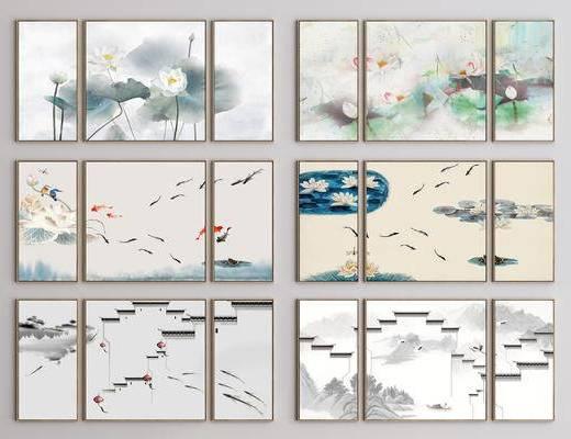 新中式挂画, 挂画, 装饰画, 新中式装饰画