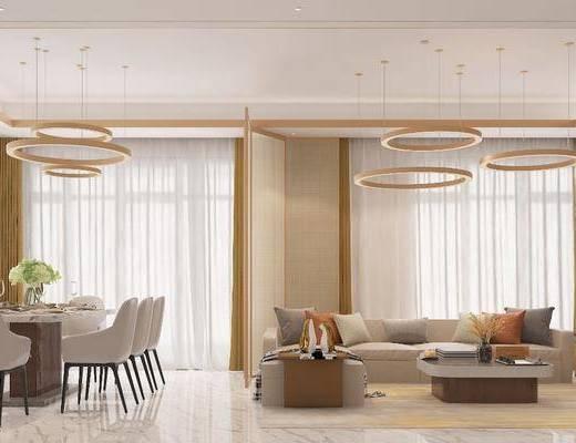 餐厅, 客厅, 吊灯, 沙发组合, 茶几