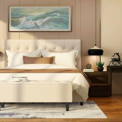 现代, 双人床, 床具, 尾榻, 吊灯, 床头柜, 摆件, 装饰品, 挂画, 书桌, 椅子