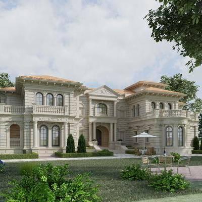 户外建筑, 别墅, 欧式别墅, 欧式, 植物, 树木, 灌木, 太阳伞, 桌椅组合