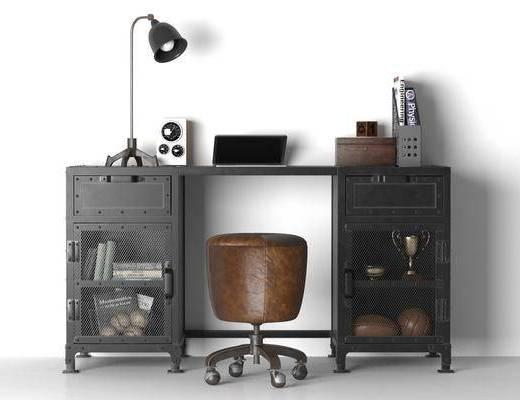 书桌, 办公椅, 桌椅组合, 摆件