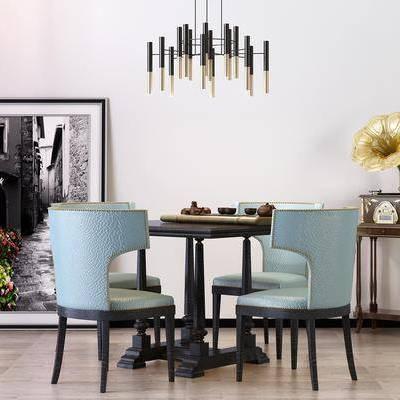 餐桌, 餐椅, 茶几, 边几, 挂画, 简欧