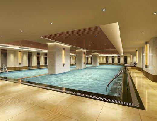 游泳馆, 游泳池, 壁灯, 室内泳池, 现代
