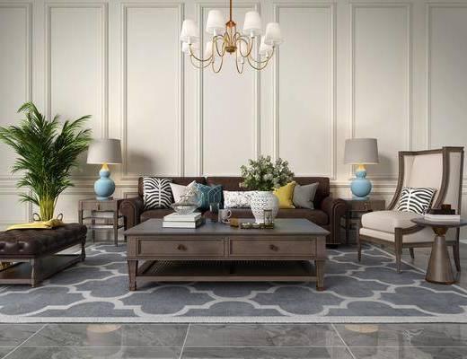 茶几, 单椅, 植物组合, 吊灯, 沙发组合, 摆件组合
