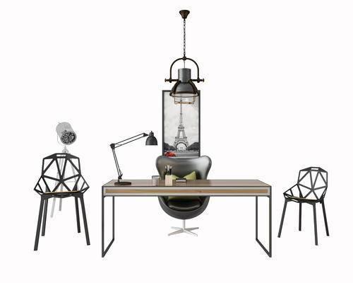 办公桌, 桌子, 椅子, 休闲椅, 吊灯, 现代, 工业风