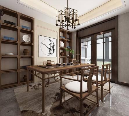 书房, 中式书房, 书桌, 椅子, 吊灯, 中式吊灯, 书柜