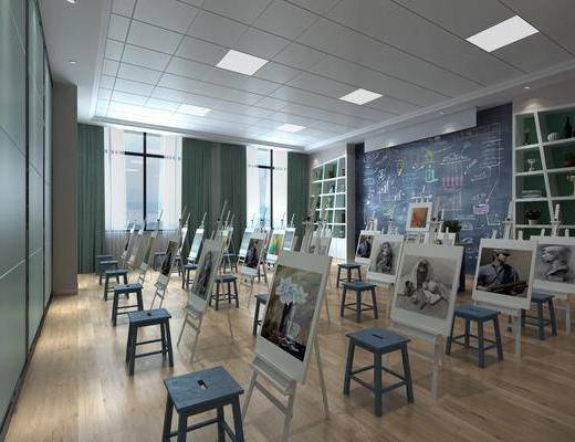 美术教室, 学校, 画板组合, 凳子组合, 装饰柜组合, 现代
