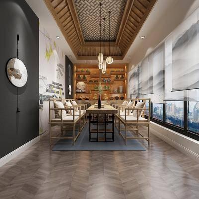 新中式茶室, 茶室, 桌椅组合