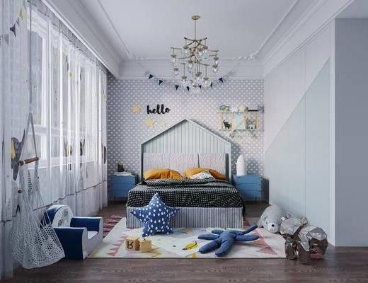 北欧儿童房3d模型, 儿童房, 床具组合, 玩偶, 布偶, 衣柜, 摆件组合