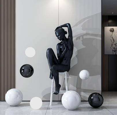 雕塑, 雕刻, 人物, 装饰品