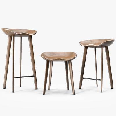 吧椅, 长脚凳, 实木, 现代