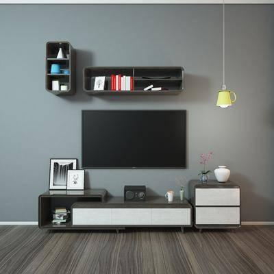 电视柜, 现代, 装饰柜, 陈设品, 摆件, 吊灯