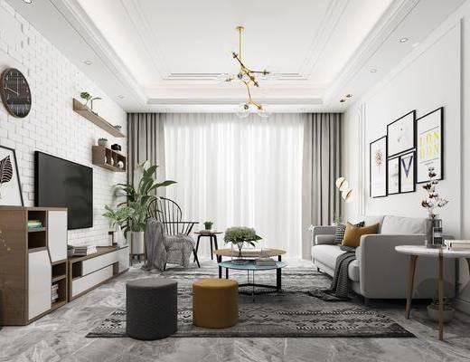 北欧客厅, 电视柜, 多人沙发, 北欧沙发, 茶几, 边几, 挂画, 装饰挂, 盆栽, 现代吊灯, 置物架, 摆件