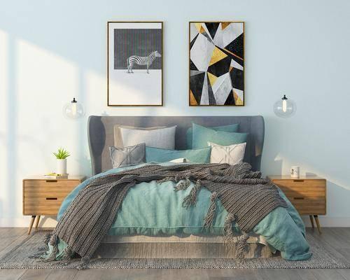双人床, 床头柜, 吊灯, 装饰画, 挂画, 北欧