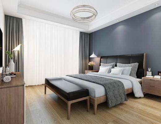 卧室, 北欧卧室, 现代, 床, 床头柜, 床尾凳, 吊灯, 电视柜