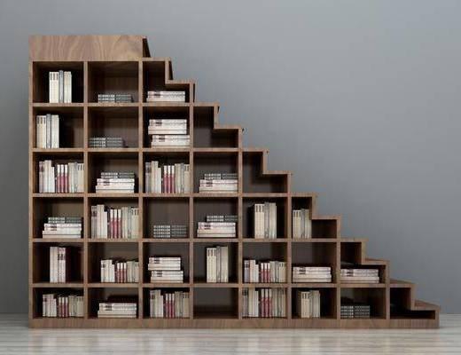 书架, 书柜, 书柜组合, 阶梯书架, 创意书架, 阶梯书柜, 书籍, 现代简约