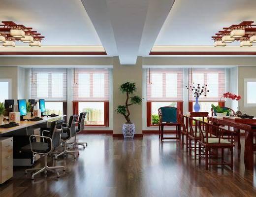 办公区, 办公桌, 办公椅, 单人椅, 茶桌, 电脑, 吊灯, 盆栽, 文件柜, 装饰架, 边柜, 中式