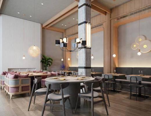 餐厅, 餐桌, 墙饰, 壁灯, 桌椅组合