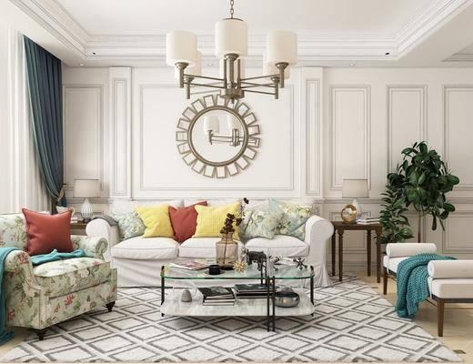 客厅, 多人沙发, 单人沙发, 茶几, 躺椅, 吊灯, 墙饰, 边几, 盆栽, 壁灯, 摆件, 装饰品, 陈设品, 美式