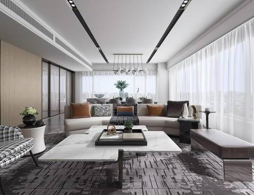 客厅, 餐厅, 现代客厅, 沙发, 现代沙发, 沙发组合
