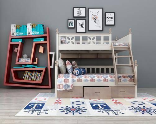 上下床, 装饰架, 摆件, 装饰画, 现代