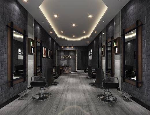 理发店, 发廊, 现代, 椅子, 镜子, 置物柜, 理发, 美发