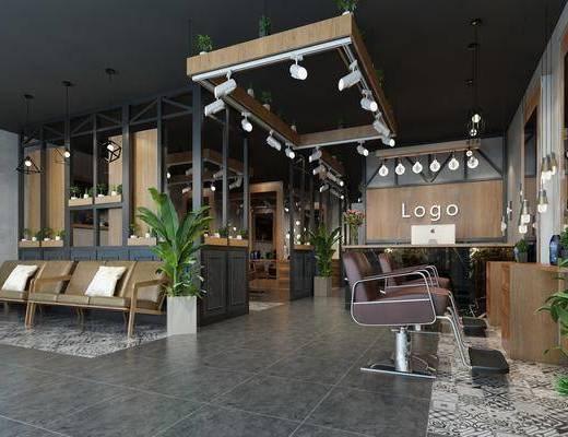 美容美发, 理发店, 盆栽组合, 射灯组合, 单人椅组合, 前台接待, 装饰镜组合, 工业风