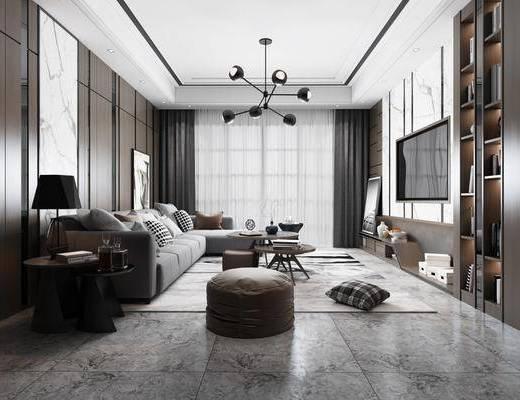 客厅, 沙发组合, 茶几组合, 台灯, 吊灯, 摆件组合, 书柜书籍, 现代