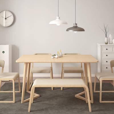 餐桌, 餐椅, 摆件, 吊灯, 边几, 北欧