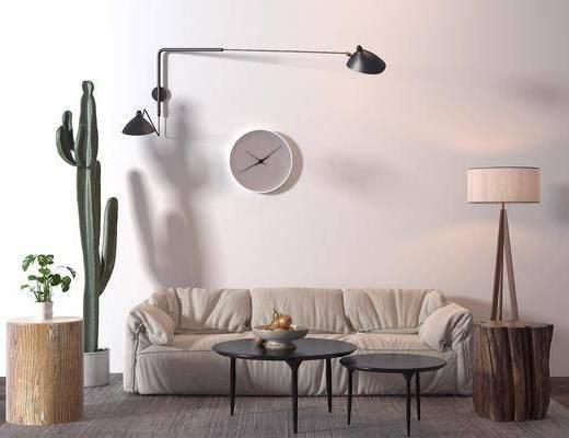 沙发组合, 盆栽植物, 边几, 台灯, 挂钟