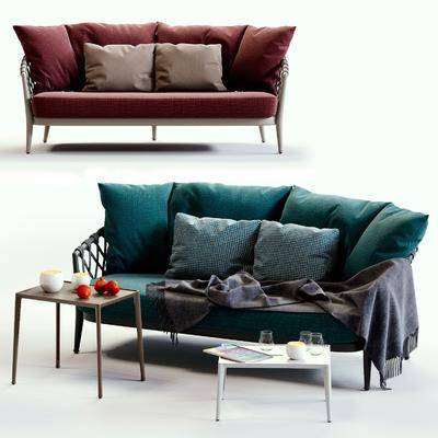 双人沙发, 多人沙发, 茶几, 布艺沙发, 现代
