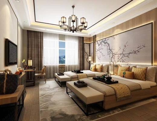 酒店客房, 新中式酒店客房, 卧室, 床具组合, 单人床, 吊灯, 单椅, 新中式