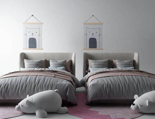 儿童床, 装饰画, 床具组合, 单人床