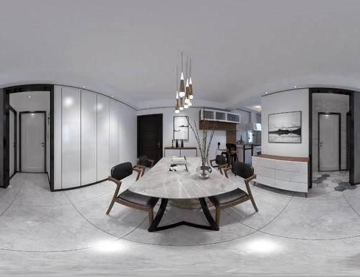 北欧, 全景, 客厅, 餐厅, 餐桌椅, 装饰品, 陈设品, 吊灯, 沙发, 茶几, 边柜