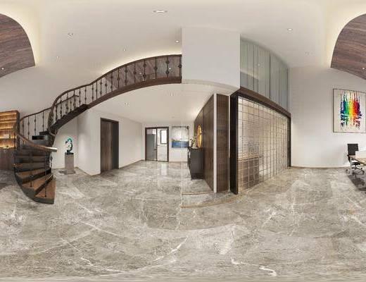 办公室, 大厅, 大堂, 桌椅组合, 装饰画, 电脑桌