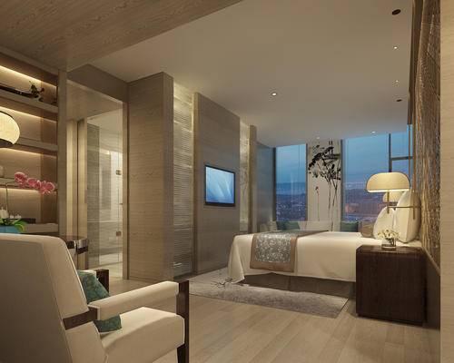 卧室, 床, 床头柜, 客房, 现代客房
