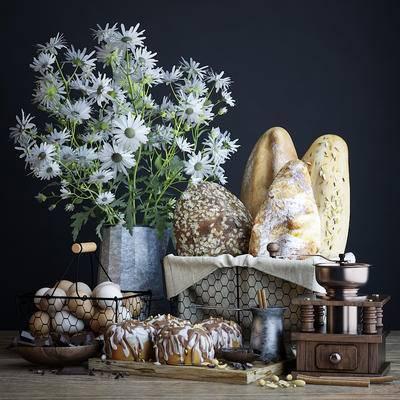 面包, 蛋糕, 鸡蛋, 咖啡, 研磨机, 巧克力, 食物, 花卉