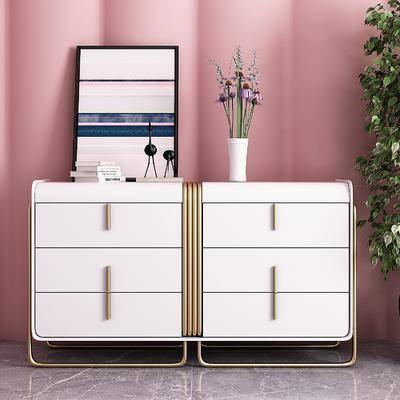 边柜, 摆件组合, 金属边柜, 现代金属边柜装饰品3d模型