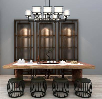 茶桌, 凳子, 茶具, 吊灯, 隔断组合, 茶桌椅组合, 新中式