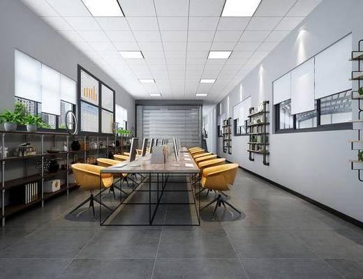 会议室, 会议桌, 植物, 屏幕