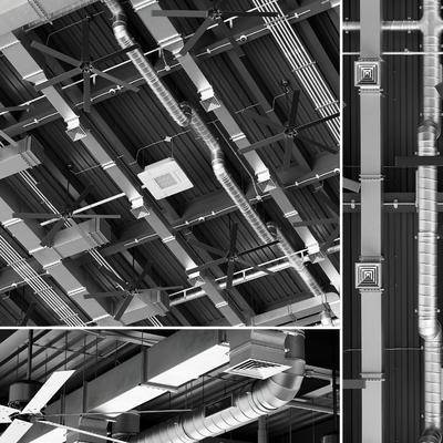 工业, 通风管道, 风扇, 摄像头, 烟感器, 消防喷淋, 空调