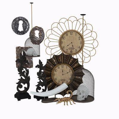 摆件组合, 欧式摆件组合, 古典, 复古摆件, 时钟, 装饰品, 欧式