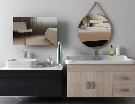 洗手台组合, 装饰镜, 台盆组合, 现代