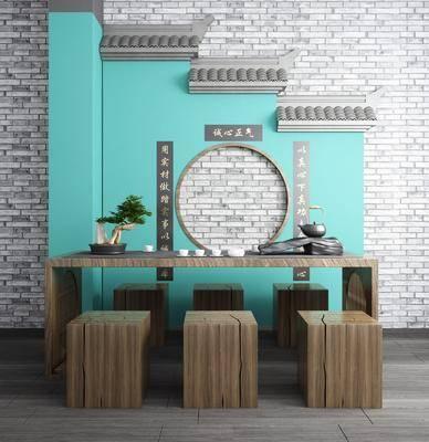 徽派建筑, 茶桌椅, 园林小品, 凳子, 茶具, 摆件, 装饰品, 陈设品, 新中式